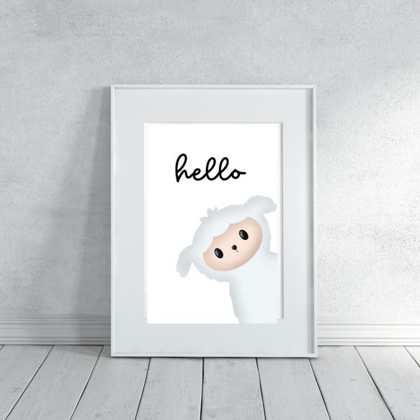 Hello Little Lamb - Digital Art Print