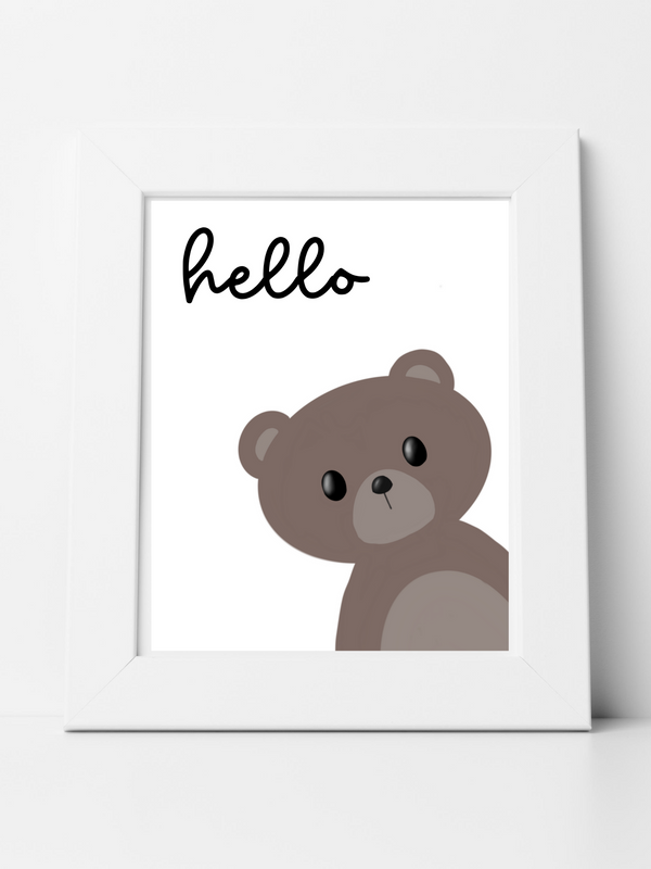 Hello Little Bear - Digital Art Print