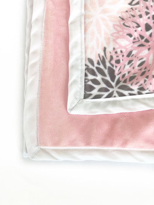 Daydreamer ™ - Pocket Blanket - Small 28x40 -  Blush Pink and Grey Blooms Minky
