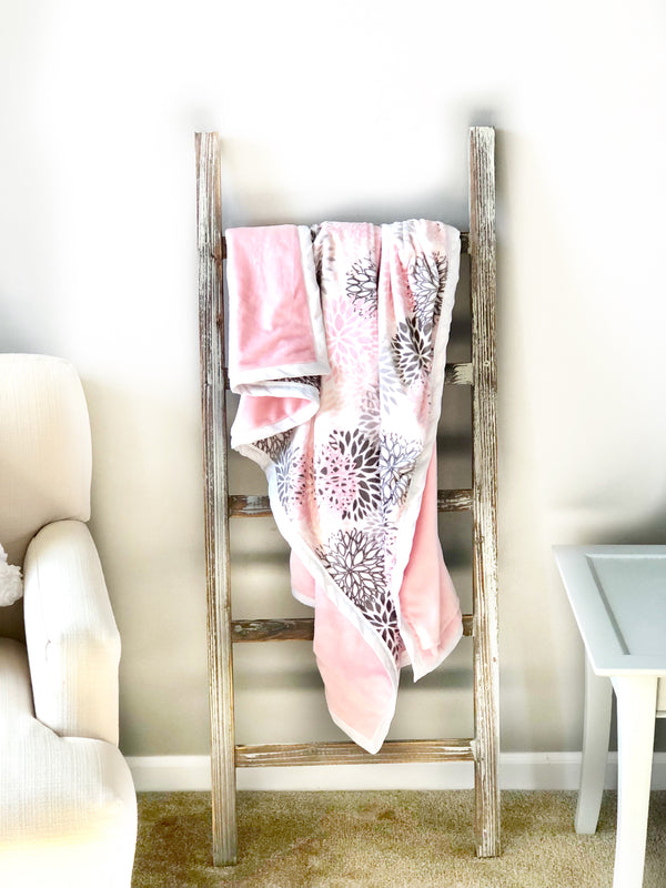 Daydreamer ™ - Pocket Blanket - Large 46x49- Blush Pink and Grey Blooms Minky