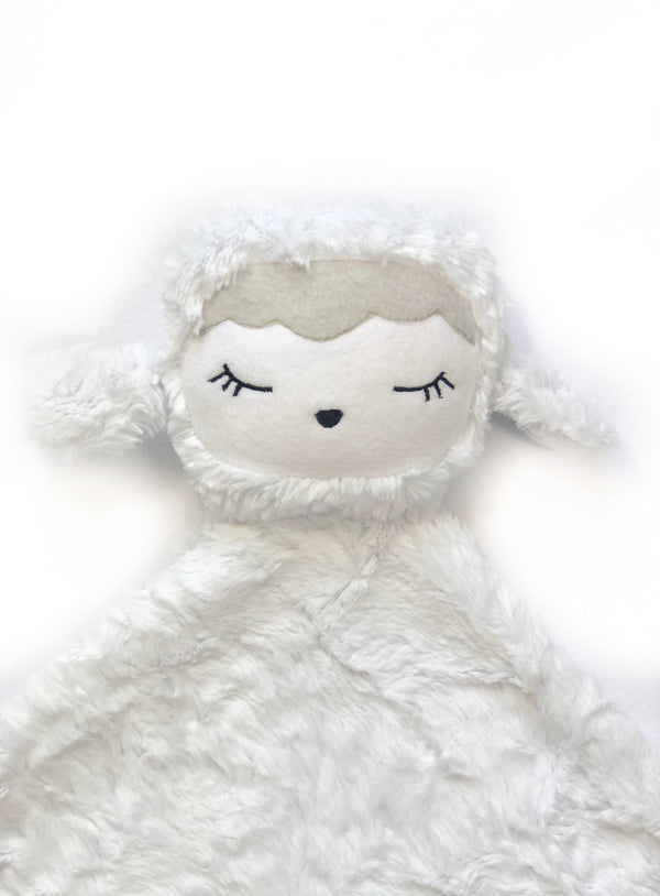Lanie the Lamb- SNUG•A•LOVEY® by Lark and Rose® - White, Light Grey fringe & White face
