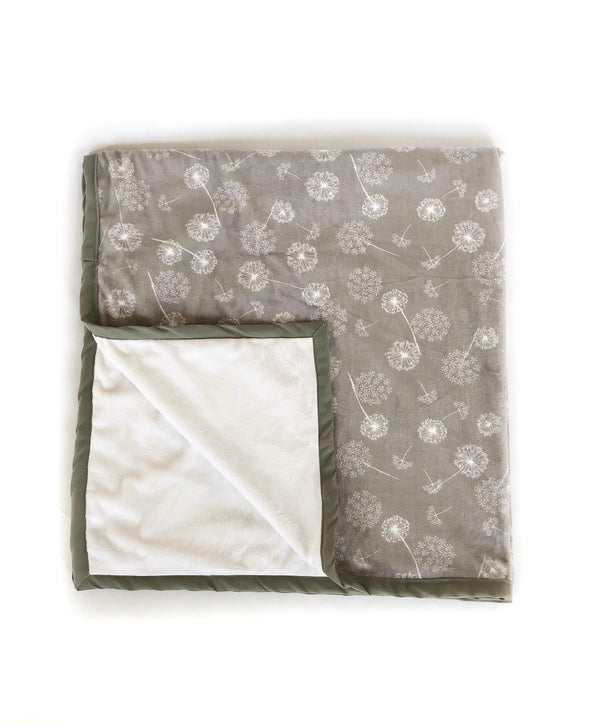 Daydreamer ™ - Pocket Blanket - Large 46x49 -Grey with White Dandelions Minky