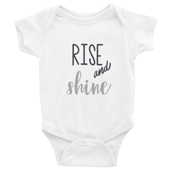 Rise and Shine | Black and White Infant Bodysuit | Cute Baby Bodysuit