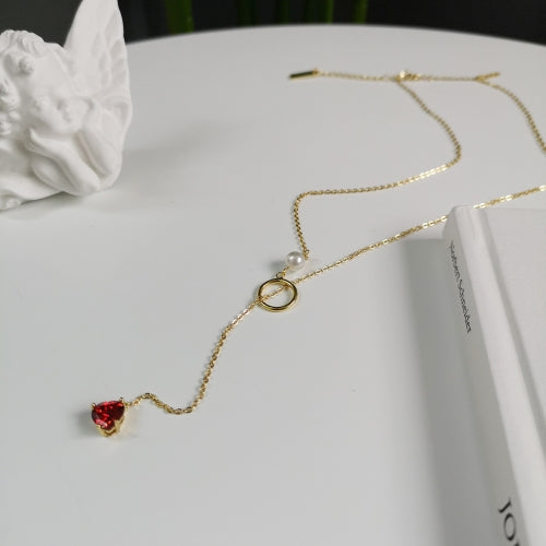 Ruby - Pearl and Drop Necklace