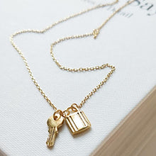 Load image into Gallery viewer, Margot - Tiny Key & Lock Necklace - aalto-store