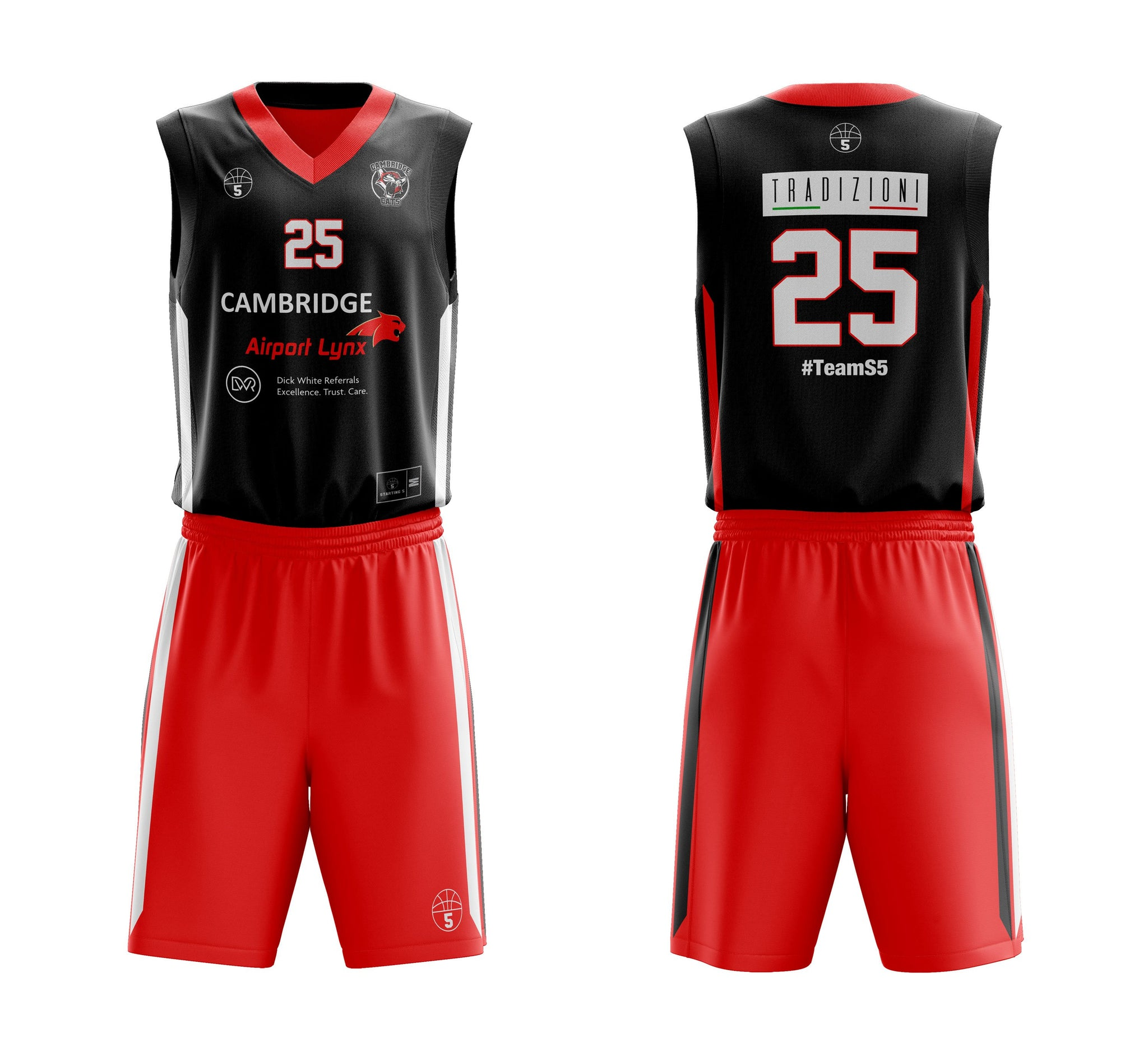 STARTING 5 Sublimated Reversible Vest & Single-Sided Shorts Example 1