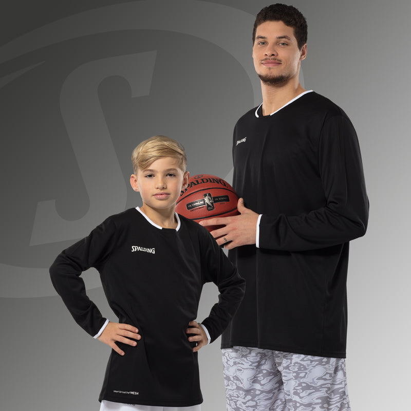Spalding Move Kids Shooting Shirt LS Black White