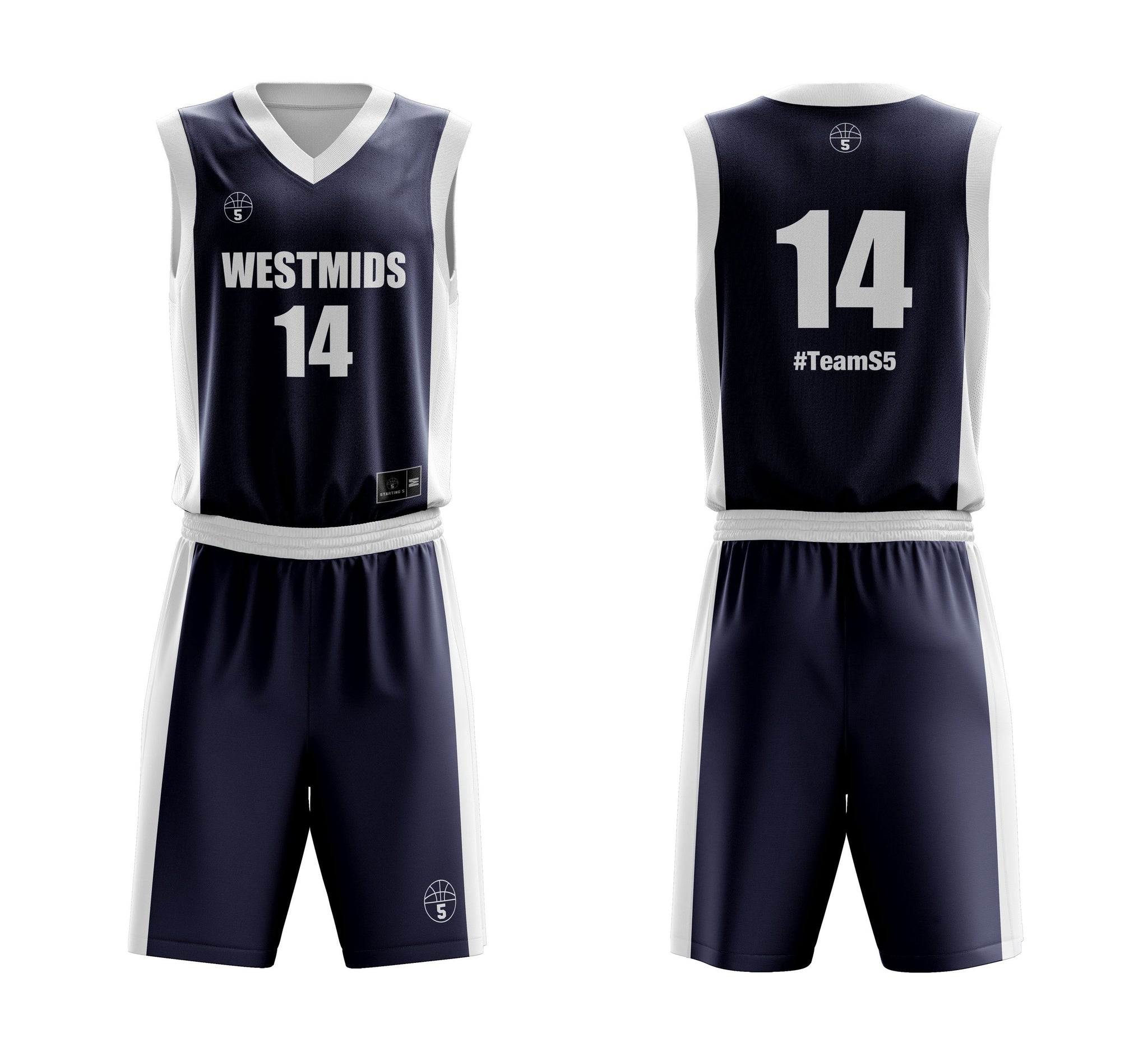 STARTING 5 Sublimated Reversible Basketball Kit - Example 7
