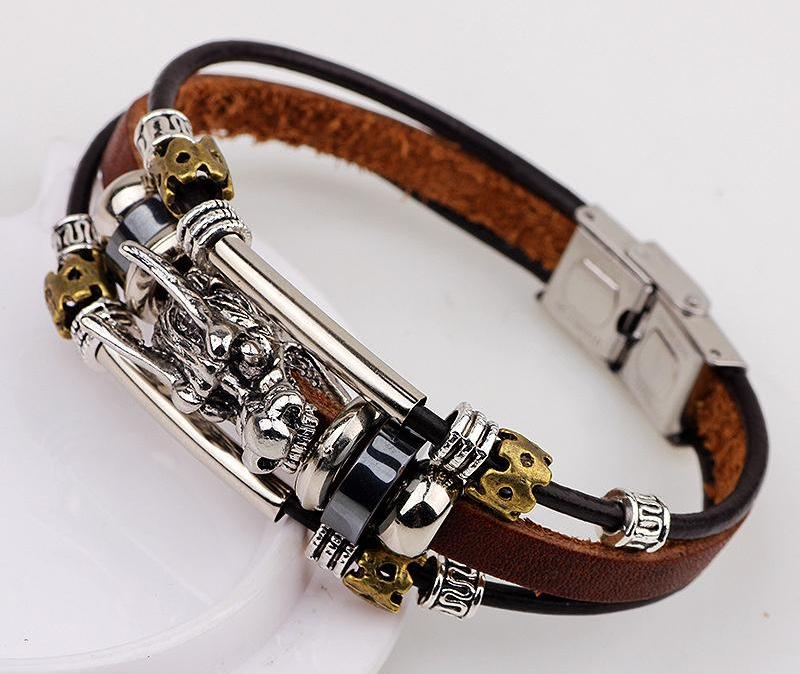 Dragon Silver Leather Bracelet - Tibetan Vintage Style