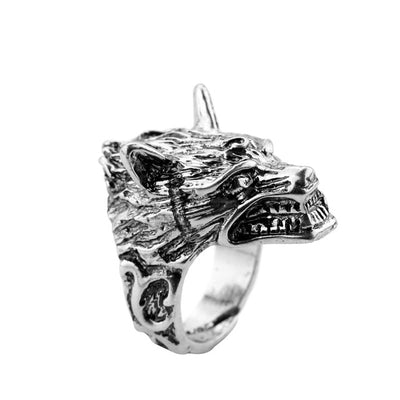 Wolf Head Adjustable Ring - Punk Style