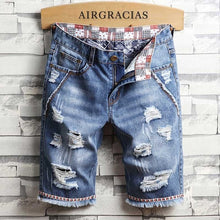 Load image into Gallery viewer, AIRGRACIAS Mens Ripped Short Jeans Brand Clothing Bermuda Cotton Shorts Breathable Denim Shorts Male New Fashion Size 28-40