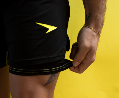 "Shortys 7"" Active Shorts Black with Yellow Logo"