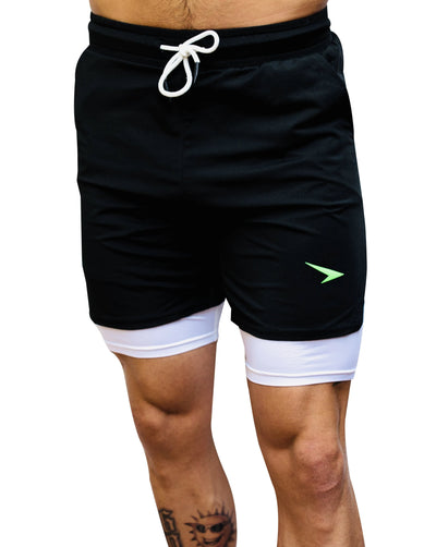 "Shortys 1.0 7"" Active Shorts Black with Green Logo"