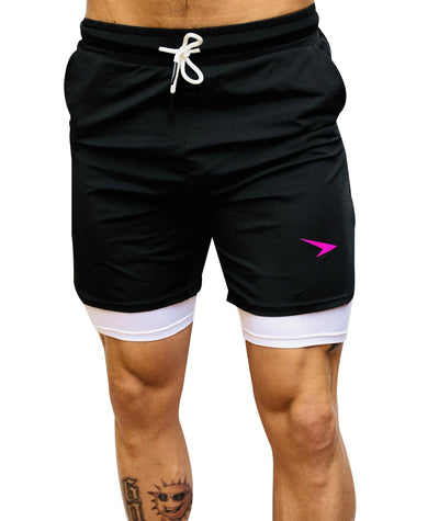 "Shortys 1.0 7"" Active Shorts Black with Pink Logo"