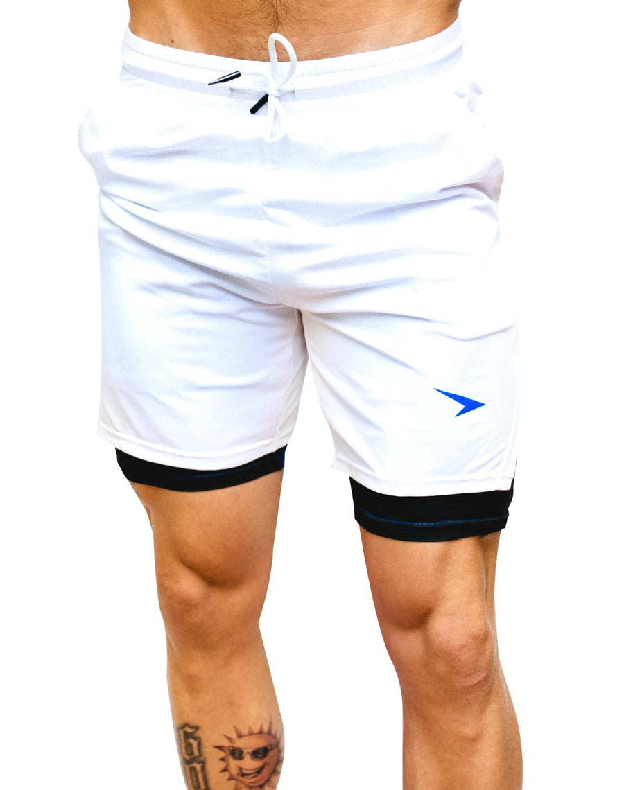 "Shortys 7"" Active Shorts White with Blue Logo"