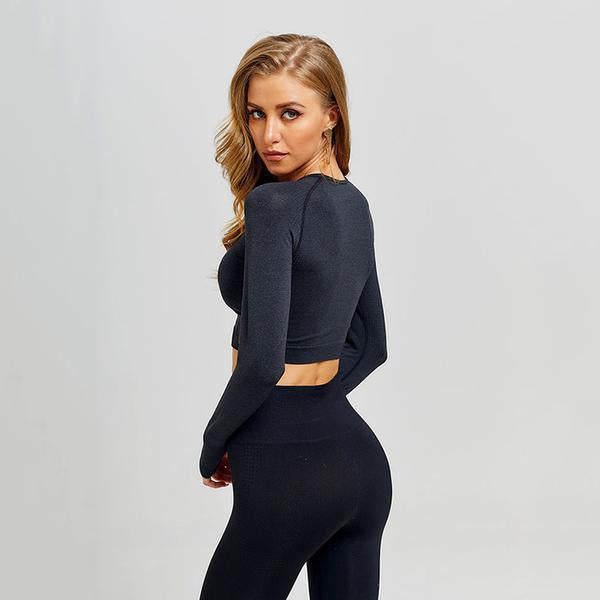 Black Seamless Workout Leggings and Top Set