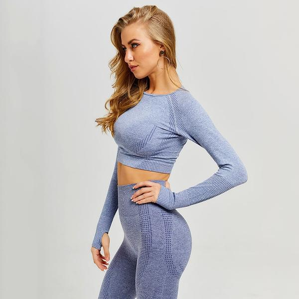 Blue Seamless Workout Leggings and Top