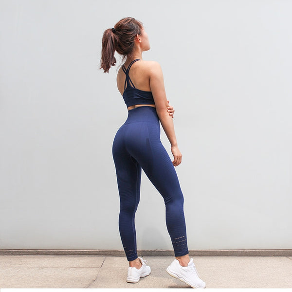 blue matching workout set