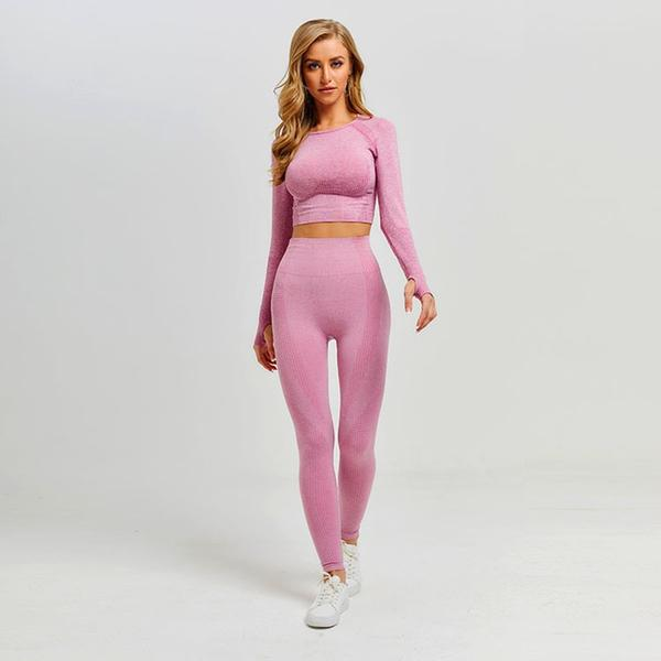 Pink Long Sleeve Workout Top And Legging
