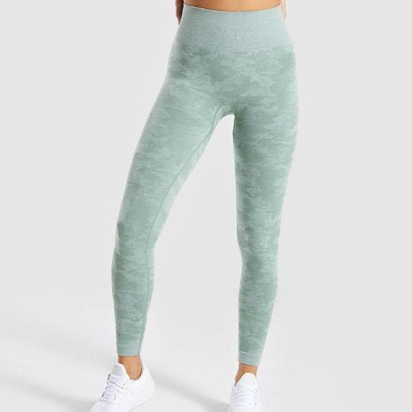green seamless camo leggings