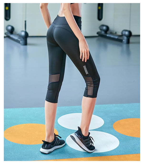 Glossy Athleisure Capri Sports Leggings