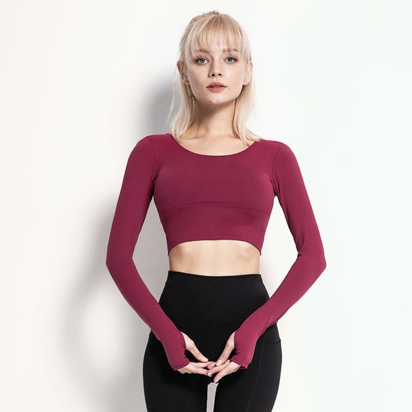 Hybrid Stringy Back Straps Long Sleeve Yoga Crop Tops