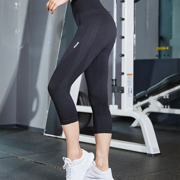 Striking Striped Pattern Athleisure Capri Leggings
