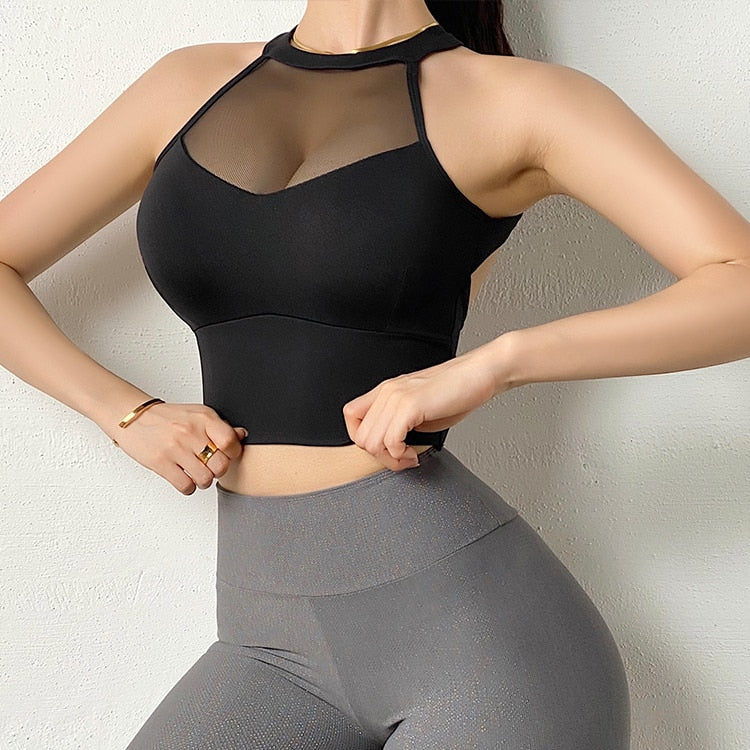 Love Fit Interloped Cross Back Mesh Top