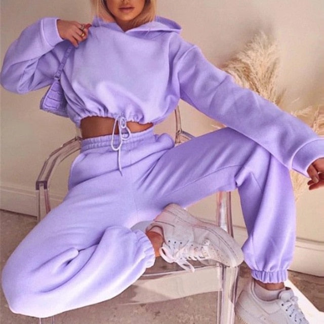 Bold Ethereal Crop Top Fleece Sweat Suit