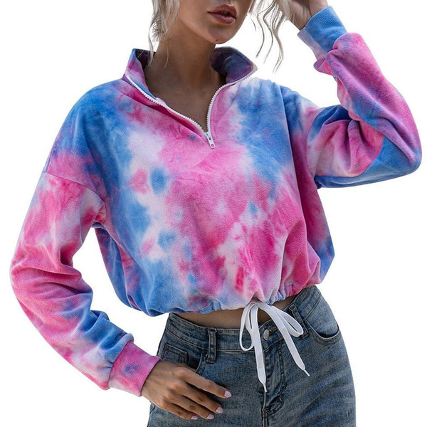 Umbriferous Shady Tie Dye Long Sleeve Sweatshirt Quarter Zipper Mock Neck