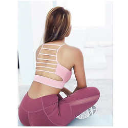 pink strappy gym bra
