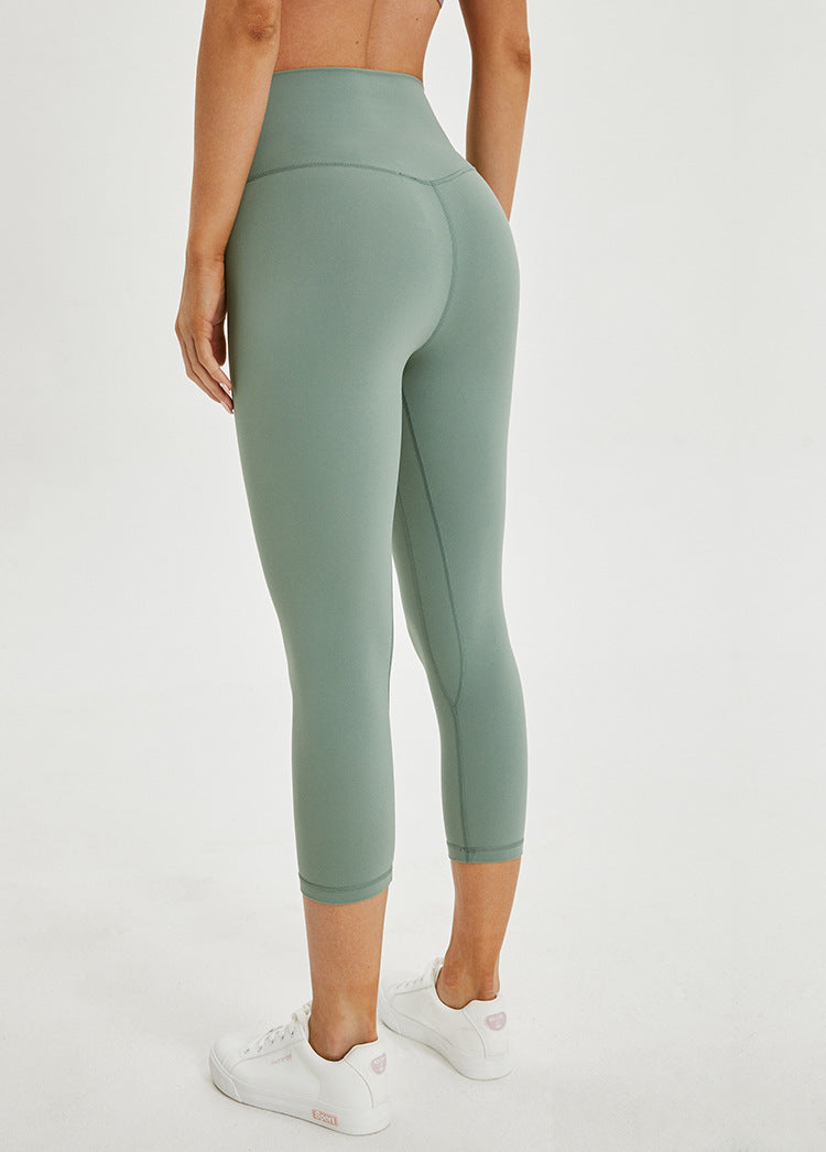 green seamless capri