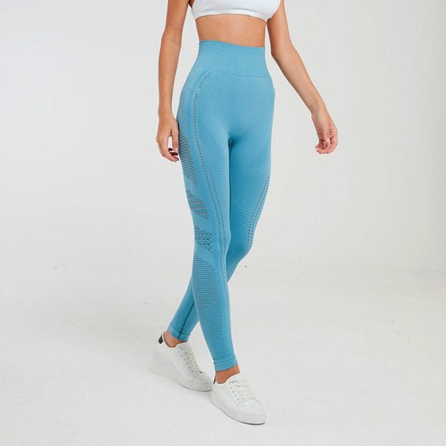 blue seamless leggings