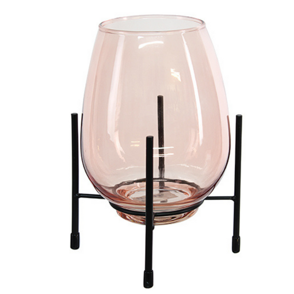 Glass Vase with Stand - Pink