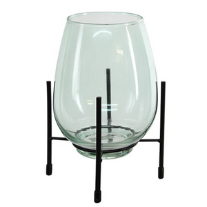 Glass Vase with Stand - Green