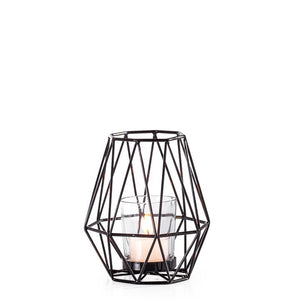 Diamond Deco Metal Tealight Holder - Black