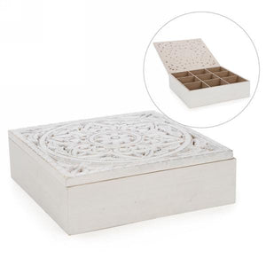 White Ornate Motif Tea Box