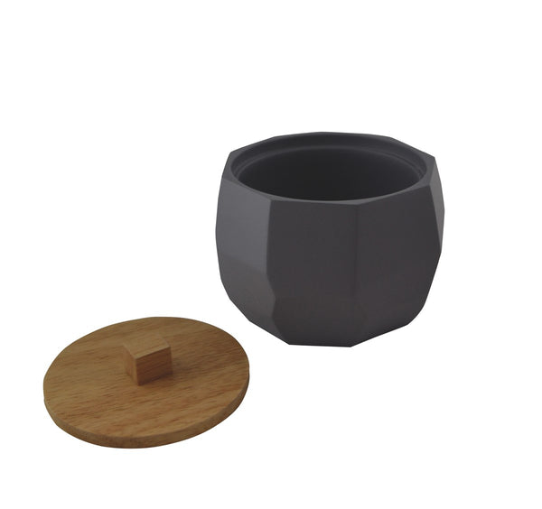 Grey geometric canister with wooden lid