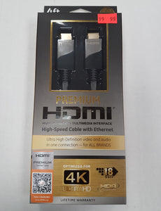 Premium HDMI Cable optimized for 4K UltraHD HDR Multimedia Interface 4 feet 1.2m - New - Razzaks Computers - Great Products at Low Prices