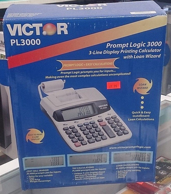 Victor PL3000 3-line display printing calculator