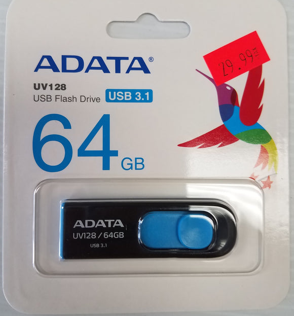 ADATA USB Drive  DashDrive Series UV128 64 GB USB 3.0, Black/Blue (AUV128-64G-RBE) - New - Razzaks Computers - Great Products at Low Prices