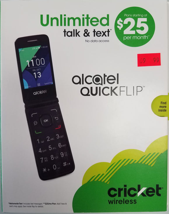 Alcatel QUICKFLIP 4G LTE Flip Phone (GSM) Silver, 2MP Camera, 2.8 QVGA Unlocked - Brand New - Razzaks Computers - Great Products at Low Prices