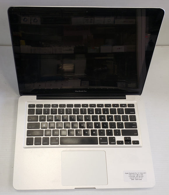 Apple Macbook Pro early 2011, Intel i7 2.7 GHz, 4GB 240 SSD  - SELLER REFURBISHED