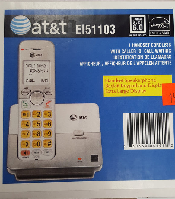 AT&T EI51103 - 1 Handset Cordless with Caller ID, Call Waiting Home Phone - Refurbished