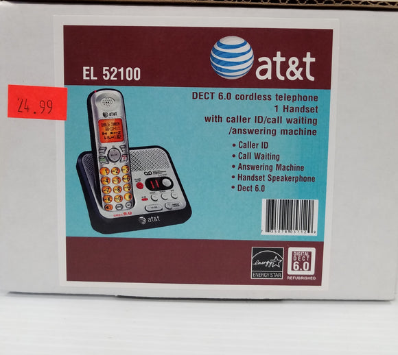 AT&T EL52100 DECT 6.0 Cordless Telephone 1 Handset with Caller ID Call Waiting - Refurbished