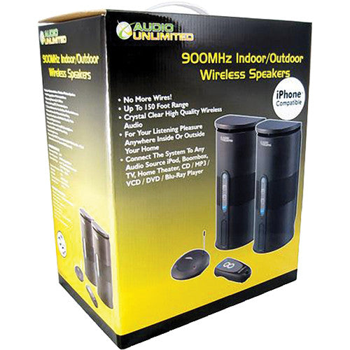 Audio Unlimited 900MHz Wireless Indoor/Outdoor Speakers (Black) - OPEN BOX