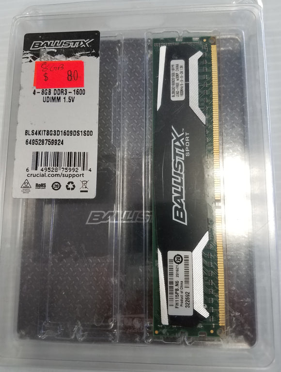 Crucial Ballistix Sport 8GB Single DDR3 1600 MT/s (PC3-12800) UDIMM 240-Pin Memory - Razzaks Computers - Great Products at Low Prices