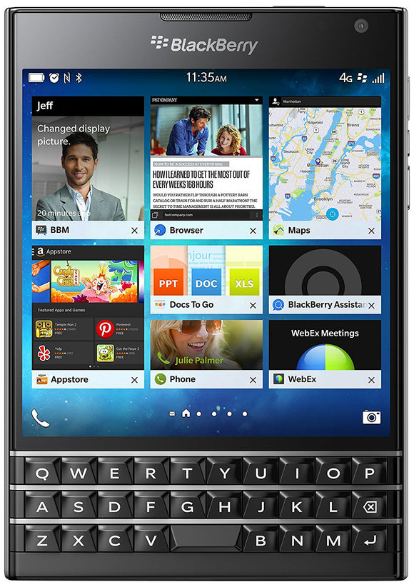 BlackBerry Passport 32GB Factory Unlocked (SQW100-4) GSM 4G LTE - Black- SELLER REFURBISHED