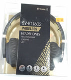 Bluetooth Wireless Headphones SY-BT1602 Rechargeable Folding Mic Black - New - Razzaks Computers - Great Products at Low Prices