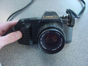 Canon T50 35mm Film SLR Camera w FD 50mm F1.8 Lens - USED